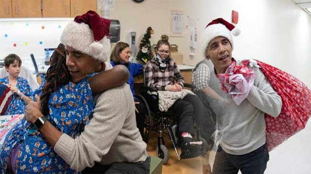 Obama's Visit to Hospital as Santa Goes Viral