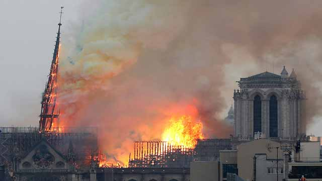 Fire Engulfs 850-Year-Old 'Notre-Dame' Cathedral  in Paris