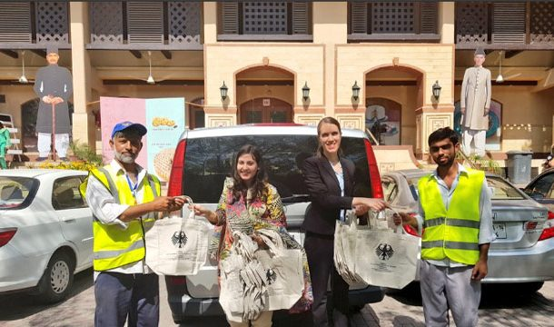 After Plastic Ban, Islamabad German Embassy Staff Distributes Cloth Bags