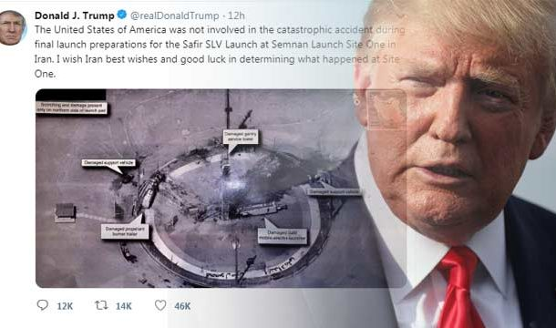 Donald Trump on Twitter Posted a Photo of Failed Iranian Satellite