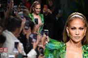 Jennifer Lopez Surprise Catwalk Appearance at Versace Fashion