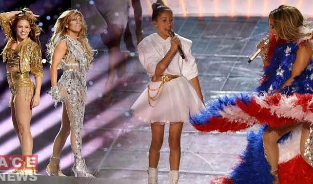 Jennifer Lopez with her Daughter Sings at the Super Bowl Show