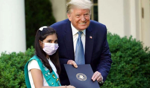 Pakistani American Girl Scout Honored by US President Trump