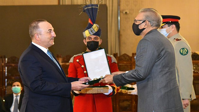 Turkish FM Confers with Hilal-e-Pakistan Award
