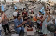 Family in Gaza Celebrates Birthday over Rubble of Building Demolished by Israel